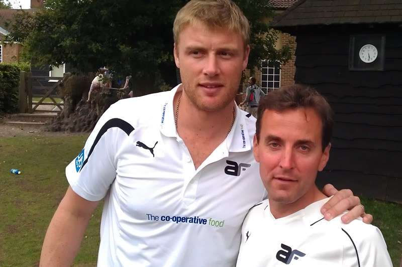 Toby Johns with Freddie Flintoff
